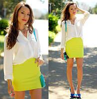 Стильная короткая юбка однотонная желтая