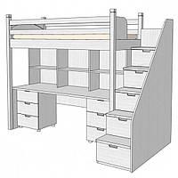 Кровать двухъярусная с рабочей зоной ZEFIR белый 330908