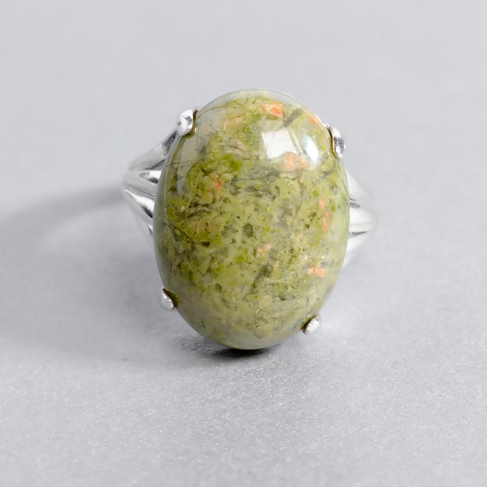 Унакит яшма, 20*15 мм., серебро 925, кольцо, 934КЦУ