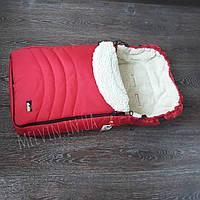 Конверт меховой для новорожденного зимний красный
