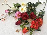 Искусственная роза ветка 2 головы и бутон, фото 4