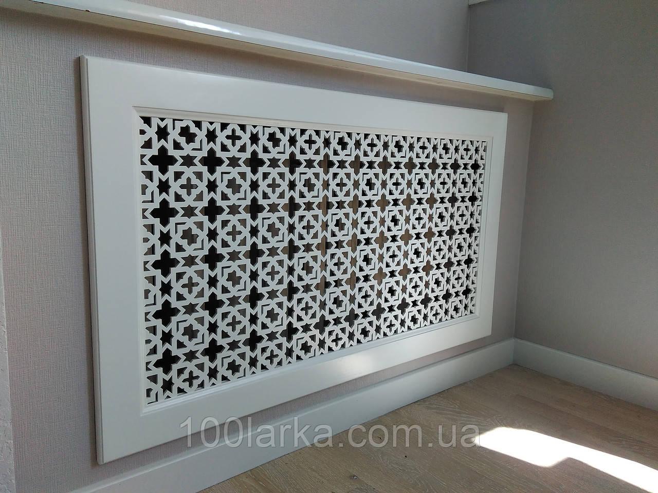 Декоративная решетка на нишу батареи отопления Экран (фасад) R19-F60 белый