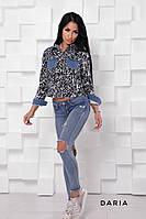 Оригинальный женский пиджак со вставками джинса Daria