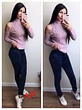 Женский стильный свитер с открытыми плечиками и жемчугом (5 цветов), фото 3