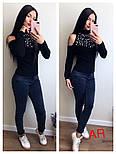 Женский стильный свитер с открытыми плечиками и жемчугом (5 цветов), фото 7