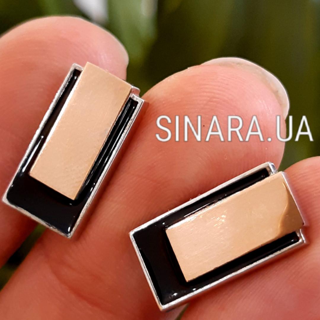 Серебряные запонки с золотом и черной эмалью