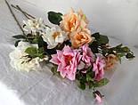 Искусственная роза раскрытая,  3 головы, 3 бутона нежная, фото 2