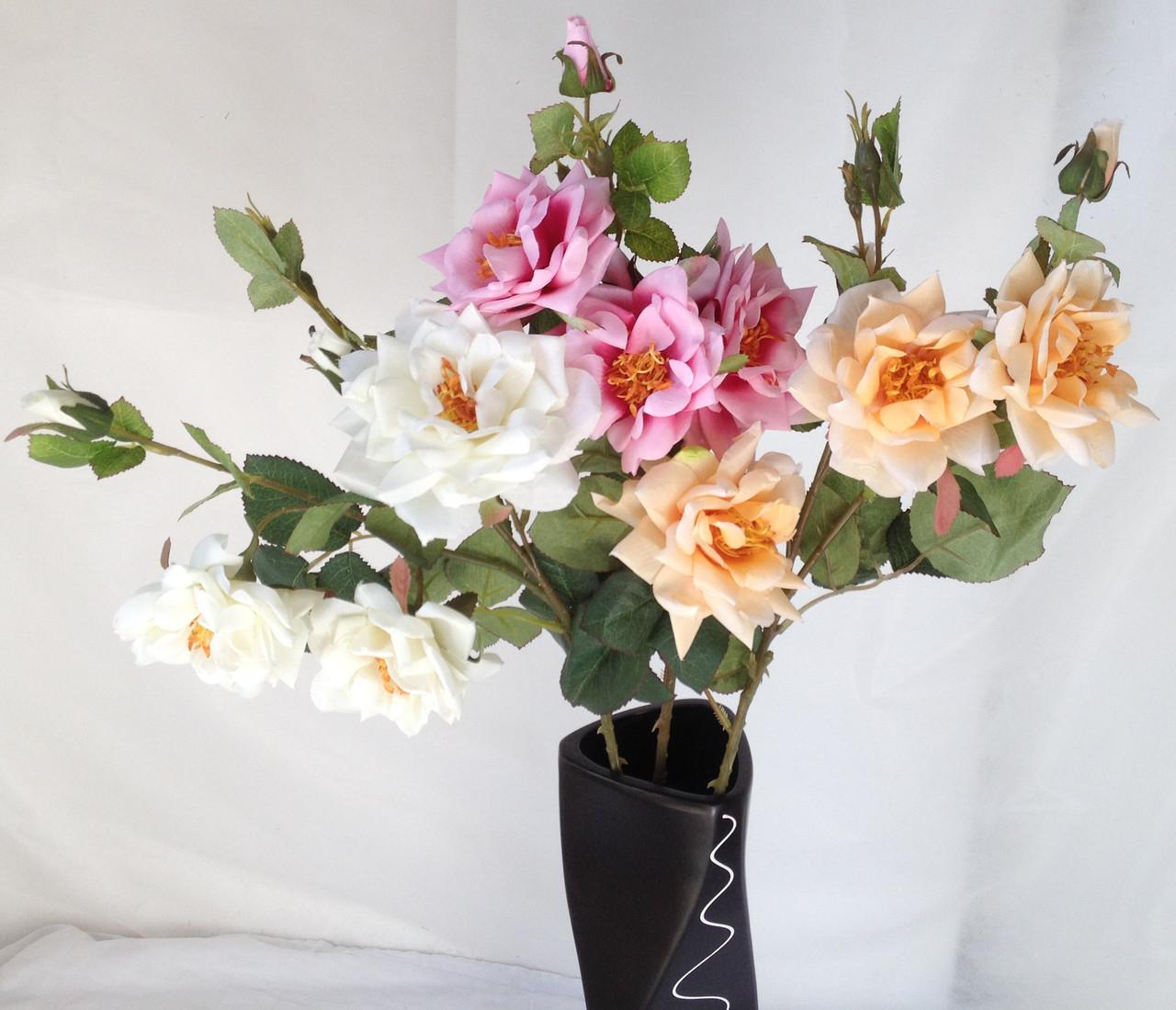 Искусственная роза раскрытая,  3 головы, 3 бутона нежная