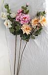 Искусственная роза раскрытая,  3 головы, 3 бутона нежная, фото 3
