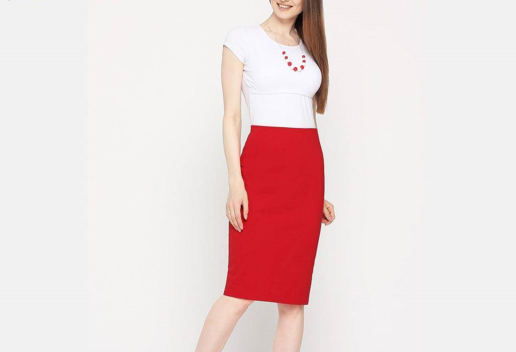 Трикотажная женская юбка карандаш, однотонная красная