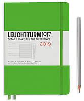 Еженедельник с заметками Leuchtturm1917 Средний A5 (14,5х21 см) Свежий зелёный 2019 , фото 1