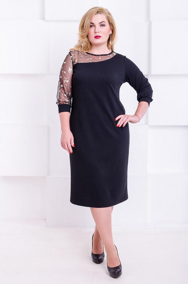 Коктейльное платье платье размер плюс Каталина черный (48-56)