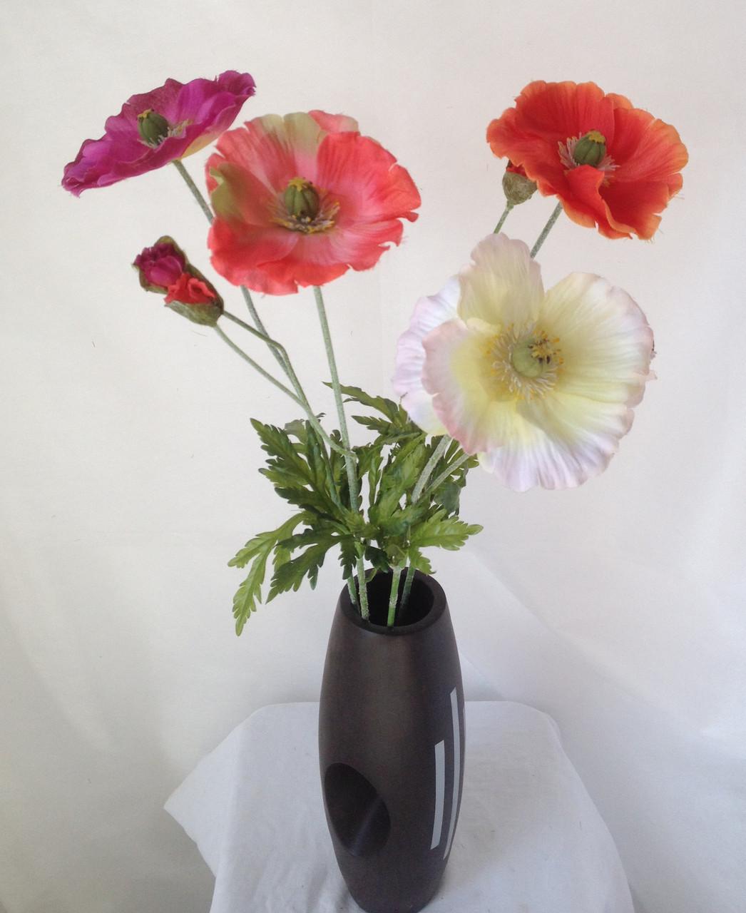 Искусственный мак ветка 1 цветок и бутон,