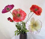 Искусственный мак ветка 1 цветок и бутон,, фото 2