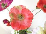 Искусственный мак ветка 1 цветок и бутон,, фото 4
