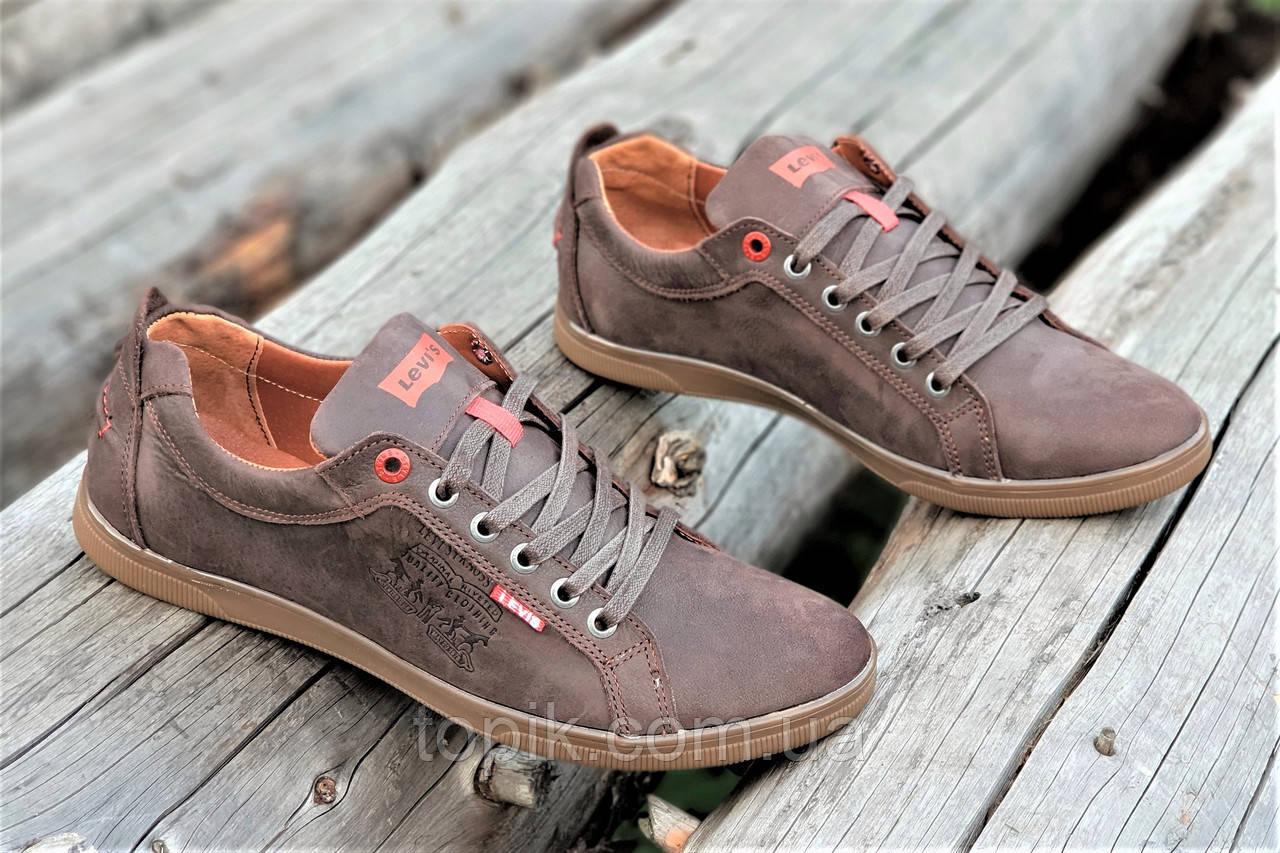 Туфли мокасины мужские Levis реплика стильные натуральная кожа коричневые (Код: 1213а)