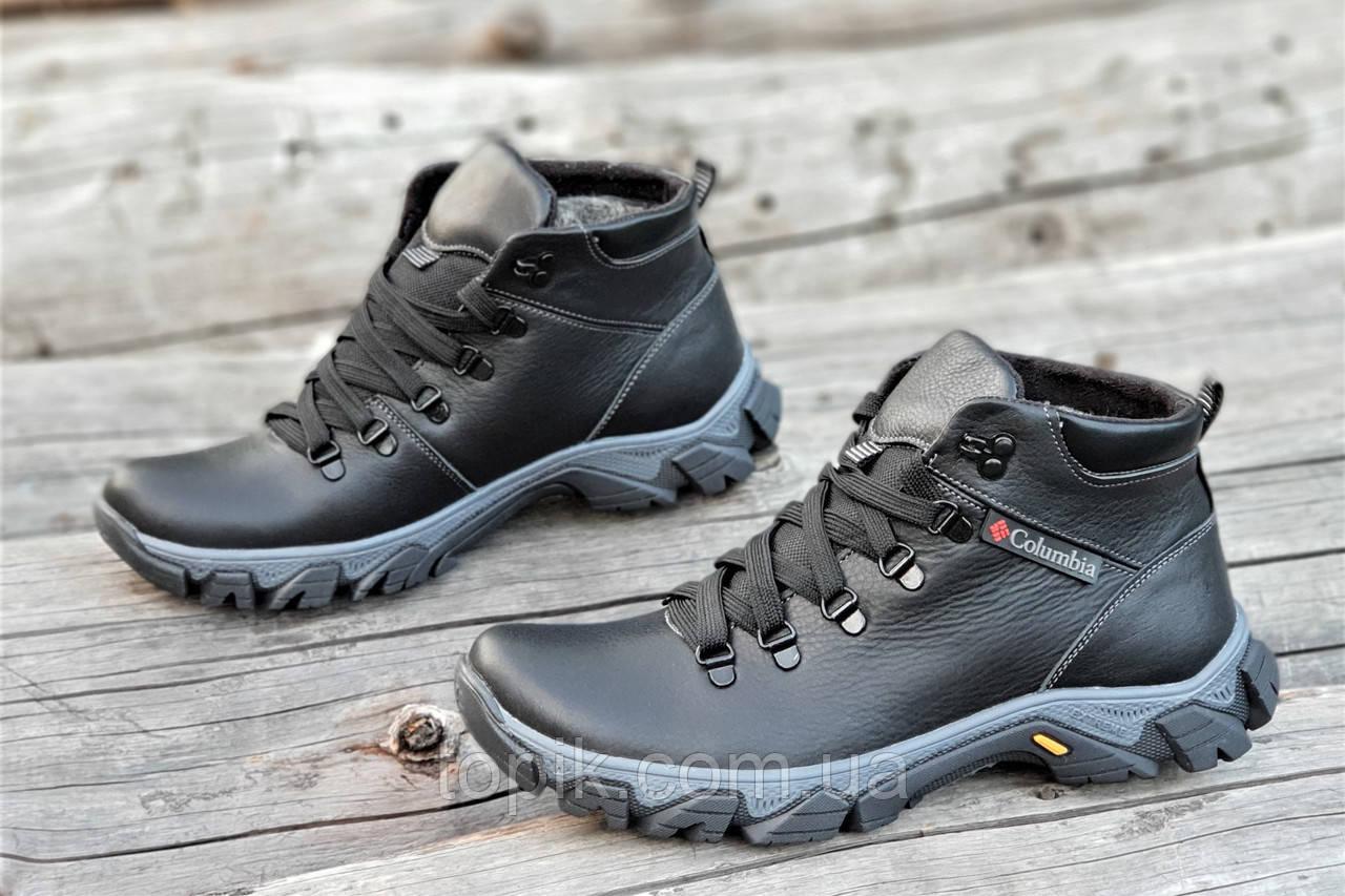 Ботинки реплика зимние мужские натуральная кожа, мех набивная шерсть черные (Код: 1226а)