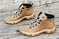 Ботинки реплика зимние мужские натуральная кожа, мех набивная шерсть светло коричневые (Код: 1227а), фото 1