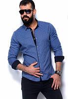 Мужская кашемировая приталенная рубашка с длинным рукавом