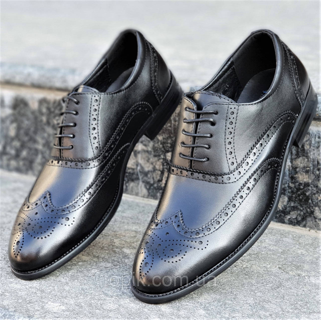 a12fa31fb Туфли мужские классические модельные на шнурках оксфорды натуральная кожа  черные стильные (Код: 1218а)