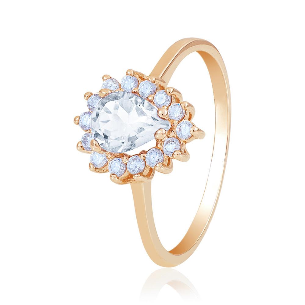 """Золотое кольцо с камнем Сваровски """"Ницца"""", красное золото, КД4033SW Eurogold"""