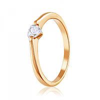 Золотое кольцо с камнем Сваровски в форме сердца, КД4184SW Eurogold