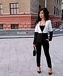 Женский двухцветный костюм: жакет и брюки (4 цвета), фото 3