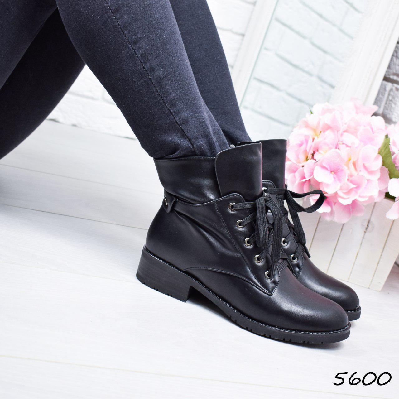 """Ботинки, ботильоны черные """"Brutal"""" эко кожа, повседневная, демисезонная, осенняя, женская обувь"""