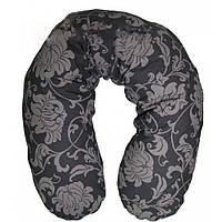 Подушка для кормления Womar ЕКО (полистирол) серый в цветы 71007