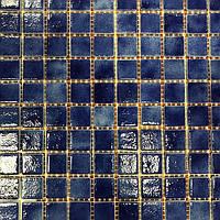 Синяя стеклянная мозаика на сетке Vivacer Vp27