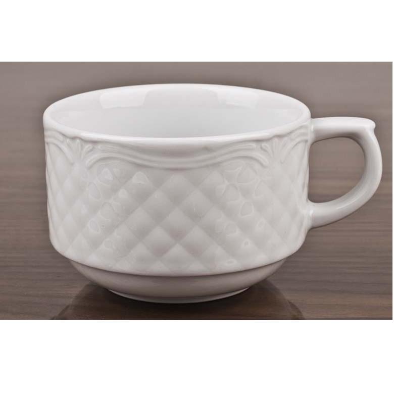 Чашка 250 мл. фарфоровая, белая Afrodyta, Lubiana (блюдце 204-2613)