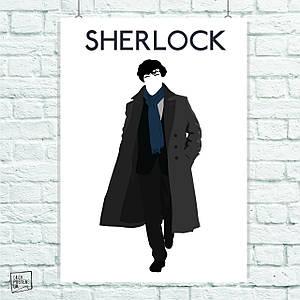 Постер Шерлок Холмс, минималистичный, Sherlock. Размер 60x42см (A2). Глянцевая бумага