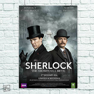 Постер Безобразная невеста, The Abominable Bride, Шерлок Холмс. Размер 60x42см (A2). Глянцевая бумага