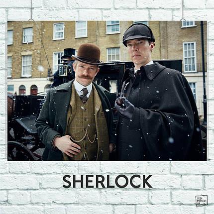 Постер Шерлок и Ватсон у кареты, Sherlock. Размер 60x42см (A2). Глянцевая бумага, фото 2