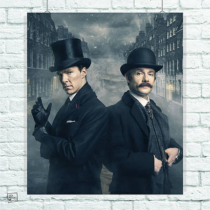 Постер Шерлок и Ватсон, Sherlock. Размер 60x51см (A2). Глянцевая бумага, фото 2