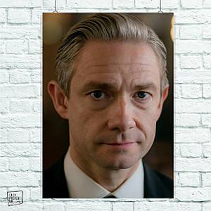 Постер Доктор Ватсон, Мартин Фриман, Sherlock. Размер 60x42см (A2). Глянцевая бумага