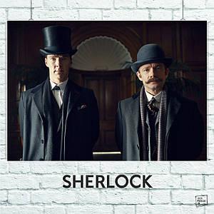 Постер Шерлок в цилиндре и Ватсон в котелке, Sherlock. Размер 60x42см (A2). Глянцевая бумага