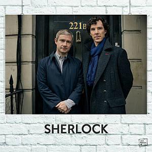 Постер Шерлок и Ватсон, у двери, Sherlock. Размер 60x42см (A2). Глянцевая бумага