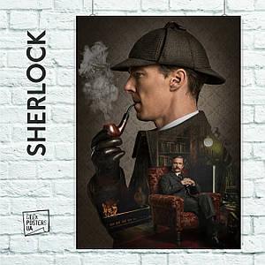 Постер Шерлок з трубкой, Sherlock. Размер 60x42см (A2). Глянцевая бумага