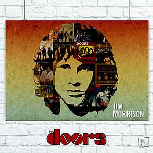 Постер The Doors, Jim Morrison, collage. Размер 60x43см (A2). Глянцевая бумага