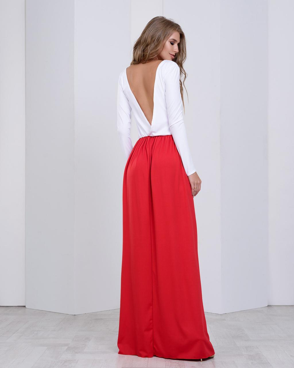 Красивое платье в пол с открытой спинкой красный