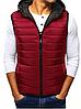Стёганая мужская безрукавка с капюшоном №2 Красный
