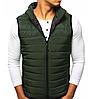 Стёганая мужская безрукавка без капюшона Зелёный