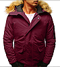 Мужская куртка бомбер зимняя Бордовый