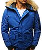 Мужская куртка бомбер зимняя Синий