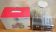 Бокс для косметики с Зеркалом Настольный ящик органайзер шкатулка Box