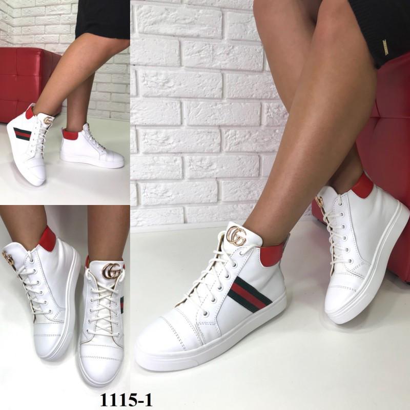 Демисезонные кожаные женские высокие кеды Gucci белые  продажа, цена ... c2c6ff0c95e