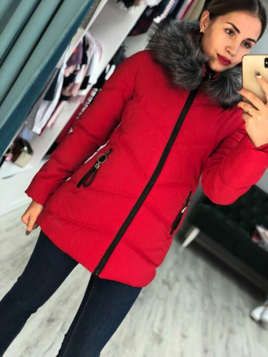 Модный женский пуховик красного цвета с искусственным мехом 42-50 фабричный  Китай., цена 960 грн., купить в Харькове — Prom.ua (ID 772569019) db397fbf412