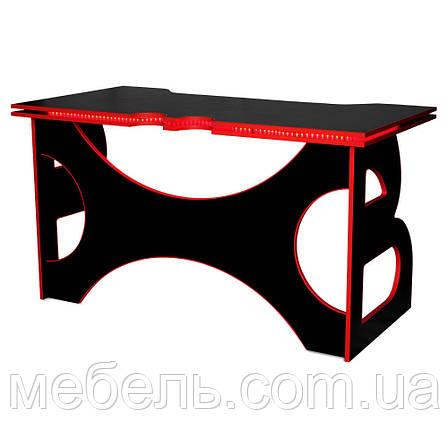 Школьный стол Barsky Homework Game Red HG-05 LED черный с красной кромкой и подсветкой, фото 2