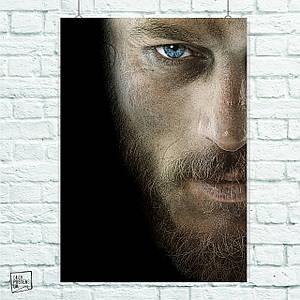 Постер Vikings, Викинги, Рагнар. Размер 60x42см (A2). Глянцевая бумага